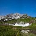 View of mount pshekha su and lake psenodah north caucasus russia Stock Photos