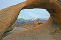 View at mount whitney through mobius arch in alabama hills california Royalty Free Stock Photos