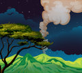 A view of the mountain in the middle of the night illustration Royalty Free Stock Photography