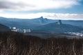 View on mountain from Razvalka mounain, Northern Caucasus, Russia Royalty Free Stock Photo