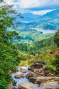 View of the mountain valley from waterfall Royalty Free Stock Images