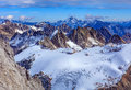 View from Mt. Titlis in the Swiss Alps in winter Royalty Free Stock Photo