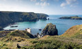View of Mullion Cove Cornwall UK the Lizard peninsula Mounts Bay near Helston Royalty Free Stock Photo