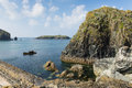 View from Mullion Cove harbour Cornwall UK the Lizard peninsula Mounts Bay near Helston Royalty Free Stock Photo