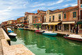 View of murano burano veneto italy canal in island veneto italy on february Stock Photos