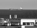 The view from my window gdansk brzezno poland february beautiful of gulf of gdansk in background vessels in reda port of Royalty Free Stock Photos