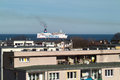 The view from my window gdansk brzezno poland march beautiful of gulf of gdansk passenger ferry polferies entrance to Stock Photos
