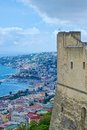 View of naples from the castle on posillipo and chiaia castel santelmo Royalty Free Stock Images