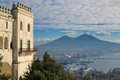View of naples from the hills and mount vesuvius museum san martino Stock Images