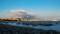 A view of napoli in italy with the vesuvio and castel dell ovo in the background Royalty Free Stock Photography