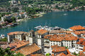 View of navy pier with the cruise ship and the rooftops of the o old town kotor montenegro Royalty Free Stock Image