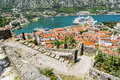 View of navy pier with the cruise ship and the rooftops of the o old town kotor montenegro Royalty Free Stock Photo