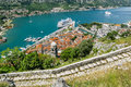 View of navy pier with the cruise ship and the rooftops of the o old town kotor montenegro Stock Images