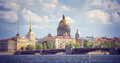View on the Neva river and St Isaac's Cathedral. St. Petersburg Royalty Free Stock Photo