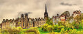 View of New College from Princes Street Gardens Royalty Free Stock Photo