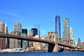 View of New York City Downtown Skyline with Brooklyn Bridge Royalty Free Stock Photo