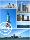 View of new york city postcard collage on white background Royalty Free Stock Photography