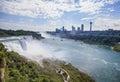 View of Niagara falls in sunny mist , NY, USA Royalty Free Stock Photo