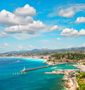 View of nice city french riviera france turquoise mediterranean sea and perfect blue sky Royalty Free Stock Photos