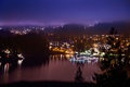 View of night city with lights and blue dramatic sky north vancouver canada Royalty Free Stock Image