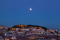 View of night lisbon in a full moon Stock Photo