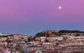 View of night lisbon in a full moon Royalty Free Stock Photography
