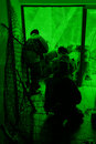 View through the night vision device. Military exe Stock Photos
