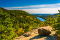 View from North Bubble, in Acadia National Park, Maine. Royalty Free Stock Photo