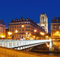 View on notre dame cathedral in paris by night Royalty Free Stock Images