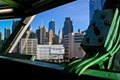 View of NYC from Captains deck of carrier Intrepid Royalty Free Stock Image