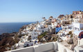 View of oia village at santorini island greece Stock Photos