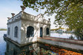 View of old bathhouse in lake of banyoles catalonia spain Stock Image
