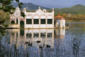 View of old bathhouse in lake of banyoles catalonia spain Royalty Free Stock Images