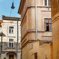 View of old building in european city, architecture of Lviv stre Royalty Free Stock Photo