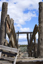 View into Old Cattle Chute in the Desert Stock Photos