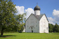 View of the old Church of the Transfiguration, sunny day. Veliky Novgorod Royalty Free Stock Photo