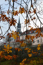 View of the old city through the autumn leaves of chestnut Royalty Free Stock Image