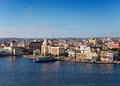 View of the old city through a bay in a sunny day havana from morro s fortress Stock Images