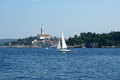View of the old city rovinj from the sea croatia in situated on north adriatic Royalty Free Stock Photo