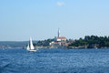 View of the old city rovinj from the sea croatia in situated on north adriatic Royalty Free Stock Photography