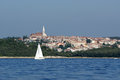 View of the old city rovinj from the sea croatia in situated on north adriatic Stock Photo