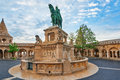 View on the Old Fisherman Bastion in Budapest. Statue Saint Istv Royalty Free Stock Photo