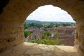 View of old french town from fortress window a photograph showing the an medieval puy l eveque as seen the thick stone the Stock Photography