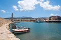 View of the old harbour. Rethymno city, The Crete island,Greece. Royalty Free Stock Photo