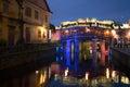 View of the old Japanese bridge in night illumination. Historical landmark of the city Hoi An, Vietnam Royalty Free Stock Photo