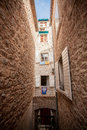 View of old narrow street at mediterranean city beautiful Stock Images