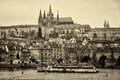 View of old prague and st vitus cathedral czech republic february sepia stylized film large grains Stock Photos