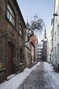 View of old riga latvia january alksnāju street Stock Photo