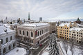 View of old riga latvia january winter s town Stock Photo