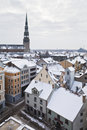 View of old riga latvia january winter s town Stock Image